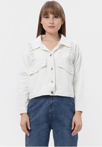 MKY Clothing white MKY Destroyed Colour Denim Jacket in White 29AFAAA84F5617GS_1