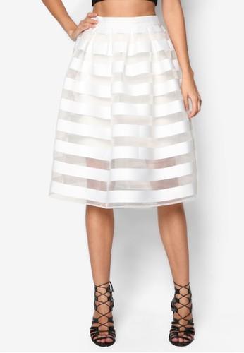 透視zalora 衣服評價條紋及膝裙, 服飾, 及膝裙