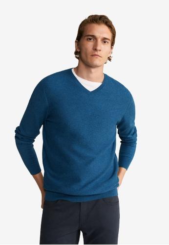 Mango Man 藍色 紋理棉Cashmere-Blend Sweater BE0ACAA472F82DGS_1
