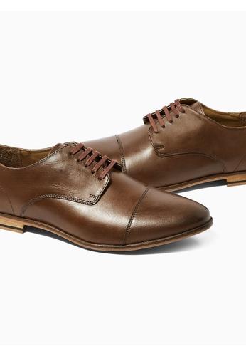 Topman brown Brown Leather Matta Toecap Shoes 4F519SH44E3E0DGS_1