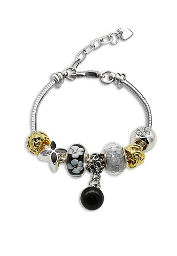 Her Jewellery black and silver Swarovski® Crystals -  Pearl Charm Bracelet (Black) (18K White Gold Plated) Her Jewellery  HE581AC0RB19MY_1