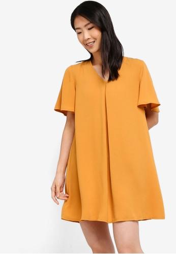 ZALORA BASICS yellow Basic A-Line Mini Dress 5C251AAD628137GS_1