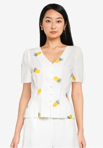 ZALORA BASICS white and multi Fruit Embroidered Puff Sleeve Top B070FAA768A958GS_1
