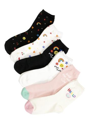 Shu Talk multi 6 pairs Set Smiley Cute Face Ankle Socks A268CAAD9757E6GS_1