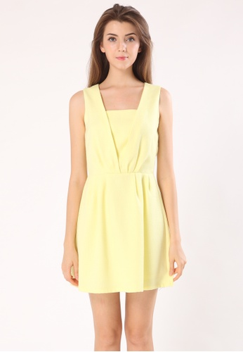Les Premieres yellow DELICACY - Sleeveless Square Neck Dress 93FC0AA9814821GS_1