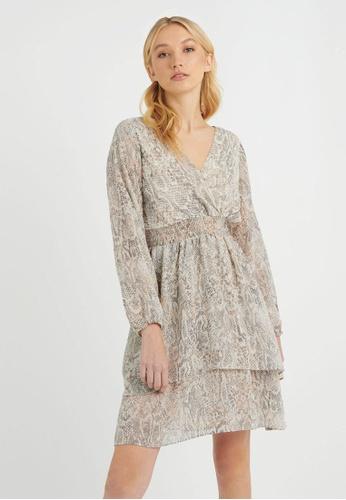 FORCAST grey Gema V-Neck Snake Print Dress 8C850AAAFF0297GS_1