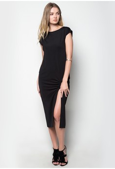 Extended Sleeves Maxi Dress w/ Side Slit