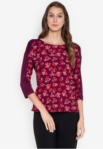MARKS & SPENCER red 3/4 Floral Woven Front Top B79D3AA3544D74GS_1
