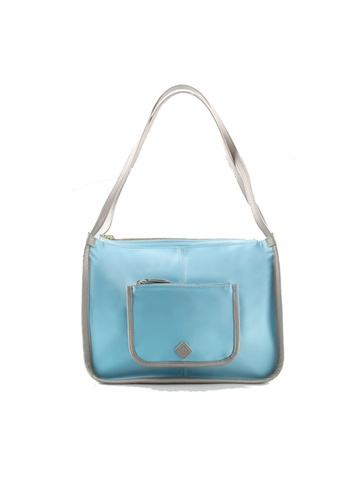 650f55d5cbd6b Samuel Ashley blue Samuel Ashley Bonnie Nylon Shoulder Bag Hobo with Leather  Trim - Light Blue
