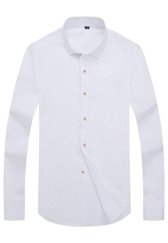 Trendyshop white Plain Slim Casual Shirt A3DF8AADCB1F62GS_1