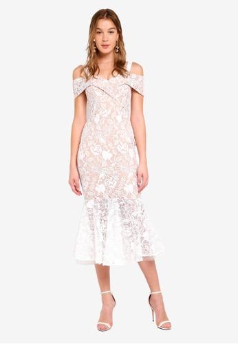 JARLO LONDON white and beige Abiona Dress E0F6CAA73D0C65GS_1