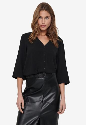 JACQUELINE DE YONG black Capote 3/4 Shirt 07F26AACB337BAGS_1