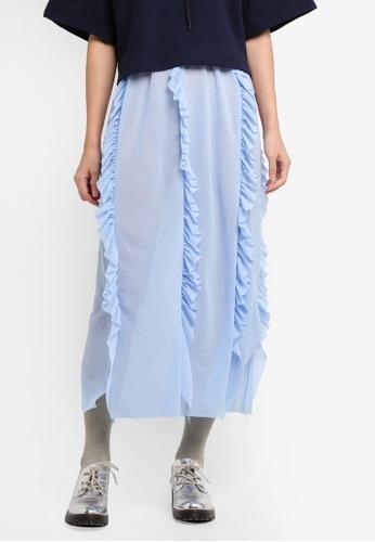 Stylenanda blue Ruffle Front Midi Skirt CFA50AA32DA6A9GS_1