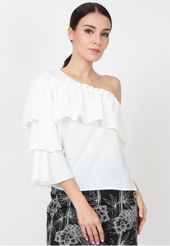 f752689077a81d Lowela white One Shoulder Tier Sleeve Top LO721AA0RA24MY 1