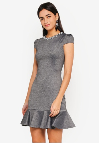 ZALORA grey Flute Hem Dress With Beading B15DAAAC98B3ABGS_1