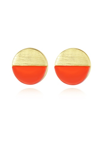 SUNRAIS gold Premium color stone gold simple design earrings 1FD3FAC5A6F30FGS_1