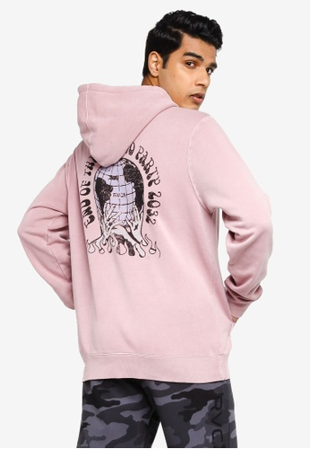 RVCA pink and purple World Party Pullover Sweatshirt 756E9AA8367CD6GS_1