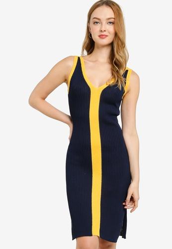 ZALORA WORK navy Colourblock Sleeveless Knit Dress 84C4EAA8910A35GS_1