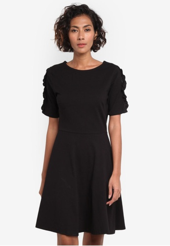 Dorothy Perkins black Frill Sleeve Dress DO816AA0RP4AMY_1