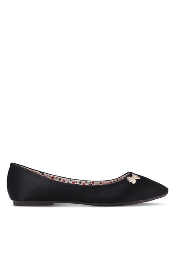 Spiffy black Ladies Flats with Shining Ribbon Buckle SP352SH0S6EAMY_1