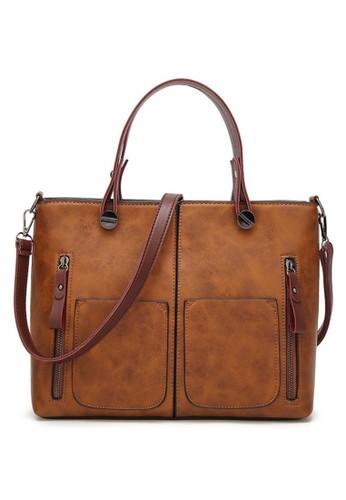 Hamlin brown Werlyn Tas Selempang Tote Wanita Vintage Shoulder Bag Spacious Compartment Material Leather Kulit ORIGINAL - Brown 0E79AAC9374234GS_1