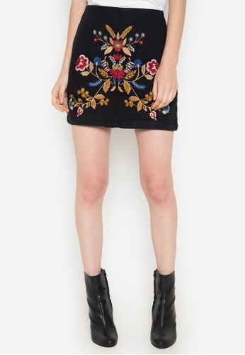 TOPSHOP black MOTO Denim Embroidered A-Line Skirt TO099AA0JH0UPH_1