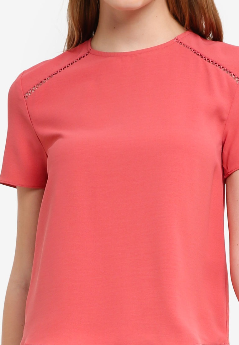 Basic BASICS Coral Boxy Trim Lace ZALORA Pink Top fRw7qn