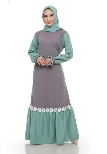 First Hijab grey Dress Hanessa Arumi in Grey D026EAA691FD3DGS_1