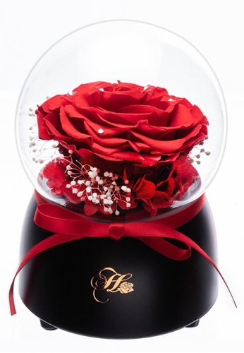 Her Jewellery red Everlasting Preserved Rose - Only Love Music Globe (Red) 09700HL937ED58GS_1