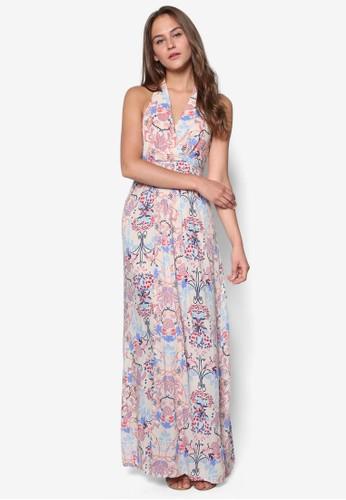 Tesprit 請人hea 花卉裹飾挖背長洋裝, 服飾, 服飾