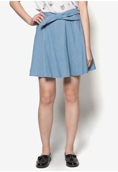 Denim Skirt with Bow