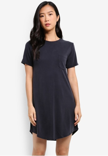 Abercrombie & Fitch black Chase Cupro T-Shirt Dress AB423AA0S3B3MY_1