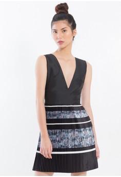 [PRE-ORDER] Pleated Silk Charmeuse Deep V-neck Dress with digital prints.