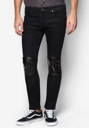 PU 補丁窄管牛仔長褲, 服飾, 牛zalora 折扣碼仔褲