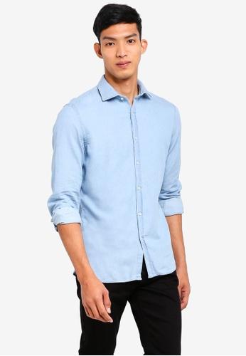 MANGO Man 藍色 長袖牛仔襯衫 F6DEDAA55B6F22GS_1