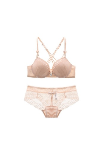 W.Excellence 粉紅色 Premium Pink Lace Lingerie Set (Bra and Underwear) 4851CUS12E7EDBGS_1