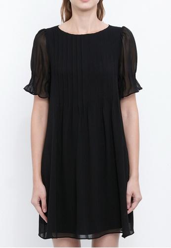 Dkny black DKNY Women Chiffon Pleated Shift Dress 5C915AA6FA9477GS_1