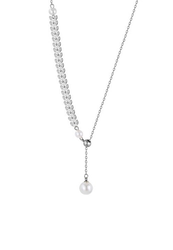 CELOVIS silver CELOVIS - Isis Laurel Leaves with adjustable Pearl Drop Pendant Necklace in Silver 0CD9FAC20B2E25GS_1