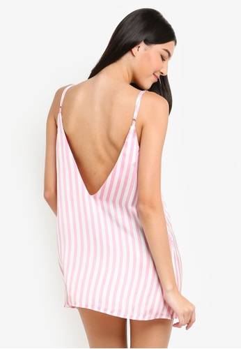 023beaf84974c Buy MISSGUIDED Candy Stripe Satin Deep V Slip Online