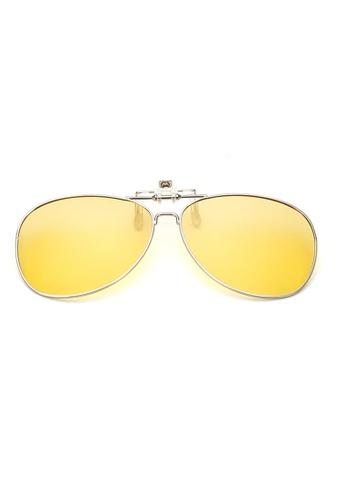 A FRENZ yellow Aviator Full Rim Polarized UV400 Yellow Night Vision Flip-Up Clip On Sunglasses DA0E0GLE6026CEGS_1