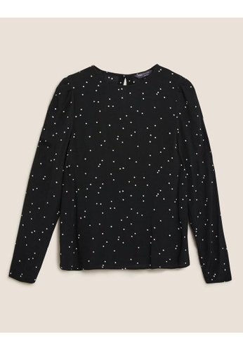 MARKS & SPENCER black M&S Polka Dot Puff Sleeve Blouse 5D4F6AA67773E1GS_1