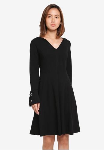 Wallis black Black Eyelet Flute Sleeve Skater Dress AA146AA2EA99A6GS_1