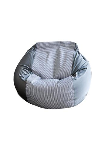 HOUZE HOUZE - Laxla Bean Bag - Denim Grey Stripes F6103HL66EB807GS_1