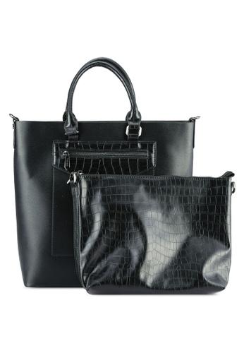 VINCCI black Casual Tote Bag VI831AC0S539MY_1