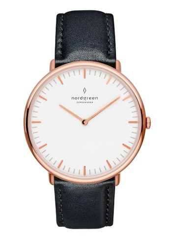 Nordgreen black and gold Nordgreen Native Rose Gold 36 mm - Black Leather Watch 0FCB9AC36F1B24GS_1