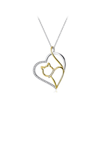 Glamorousky white 925 Sterling Silver Fashion Cute Golden Cat Heart Pendant with Cubic Zirconia and Necklace A98B5AC6C07D8FGS_1