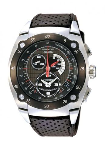 SEIKO black Seiko Sportura Kinetic Chronograph Jam Tangan Pria - Hitam -  Strap Kulit - SNL043P2 f5cc97e484