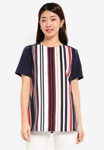 ZALORA multi and navy Printed Front Panel Top 5B48AAA0036AFCGS_1