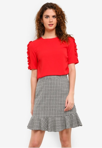 Dorothy Perkins red Red Frill Sleeve Woven Tee DO816AA0RP3JMY_1