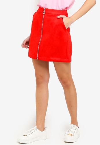 the best attitude 121c4 1f2ed Donna Zipper Faux Suede Short Skirt